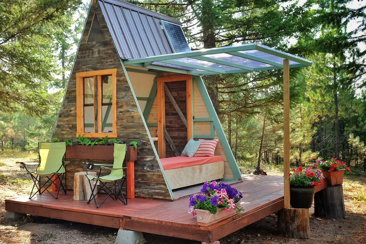 Tiny a frame cabin costs just 700 to build curbed for A frame log cabin plans