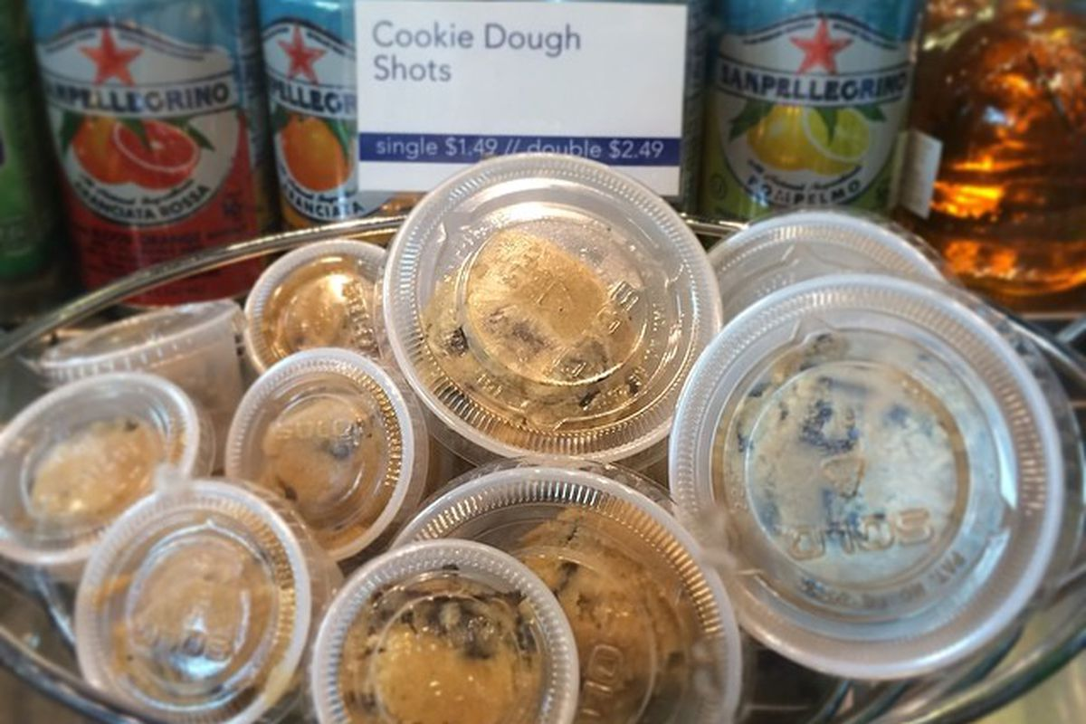 Cookie dough shots at The Roasting Plant.