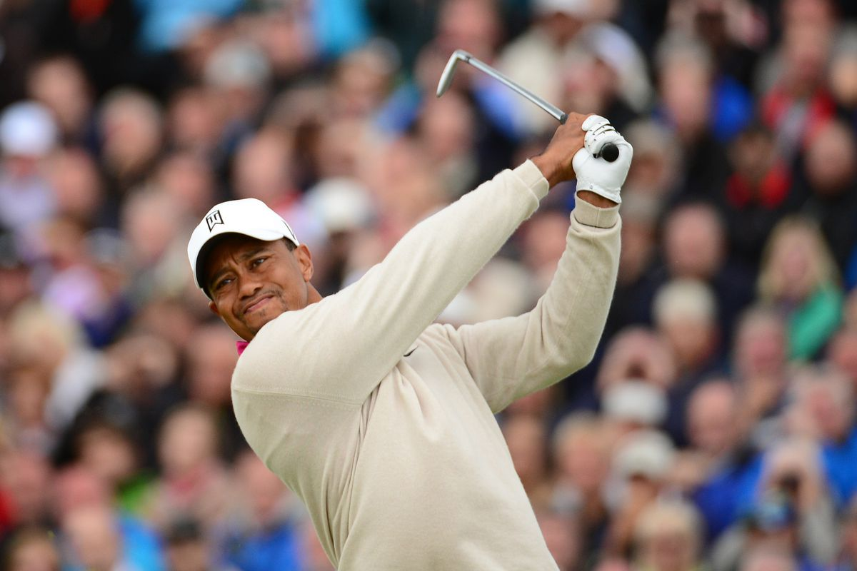 July 19, 2012; St. Annes, ENGLAND; Tiger Woods tees off on the 5th hole during the first round of the 2012 British Open Championship at Royal Lytham & St. Annes Golf Club.  Mandatory Credit: Kyle Terada-USA TODAY Sports via US PRESSWIRE