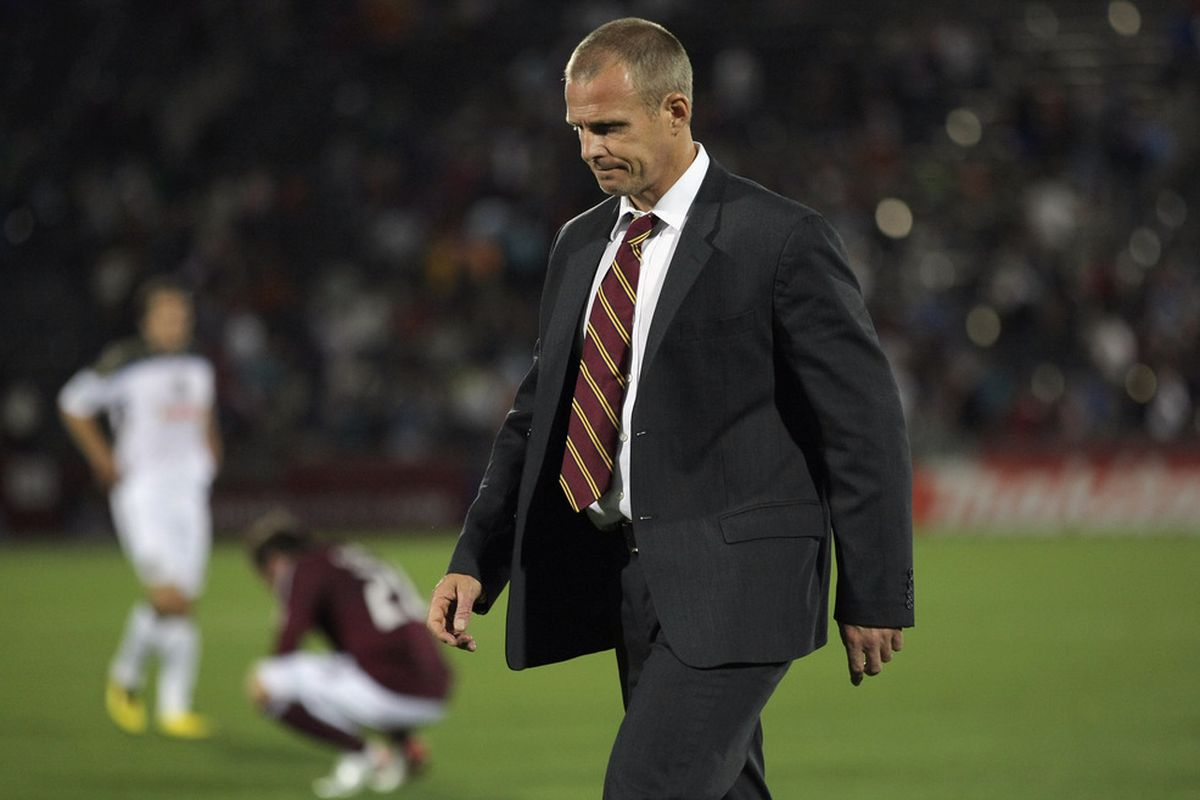 Rapids coach Gary Smith and Technical Director Paul Bravo had been at odds for quite some time. On Monday, the Rapids apparently chose their TD over their coach. (Photo by Doug Pensinger/Getty Images)