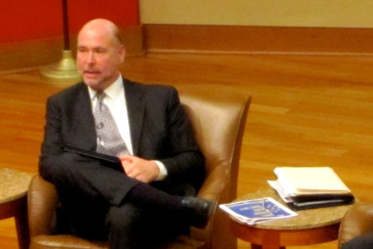 House Speaker Brian Bosma, appearing here at a Chalkbeat event on school funding, said voucher accountability is a worthy issue.