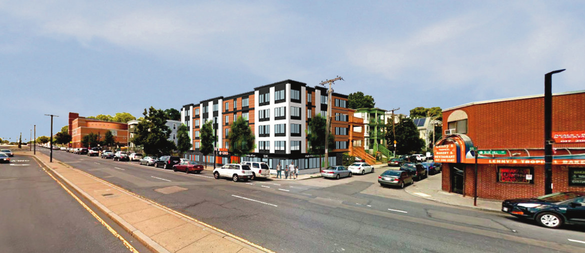 A rendering of a four-story apartment building on a wide boulevard.