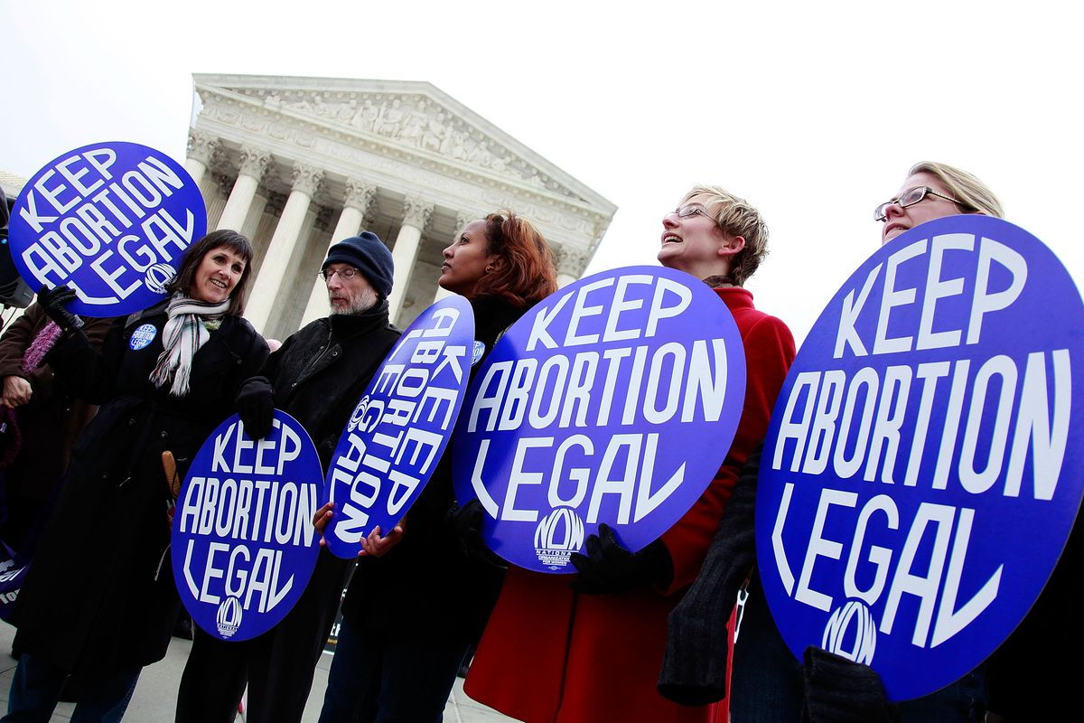 Supporters of the pro-choice movement rally in front of the U.S. Supreme Court.