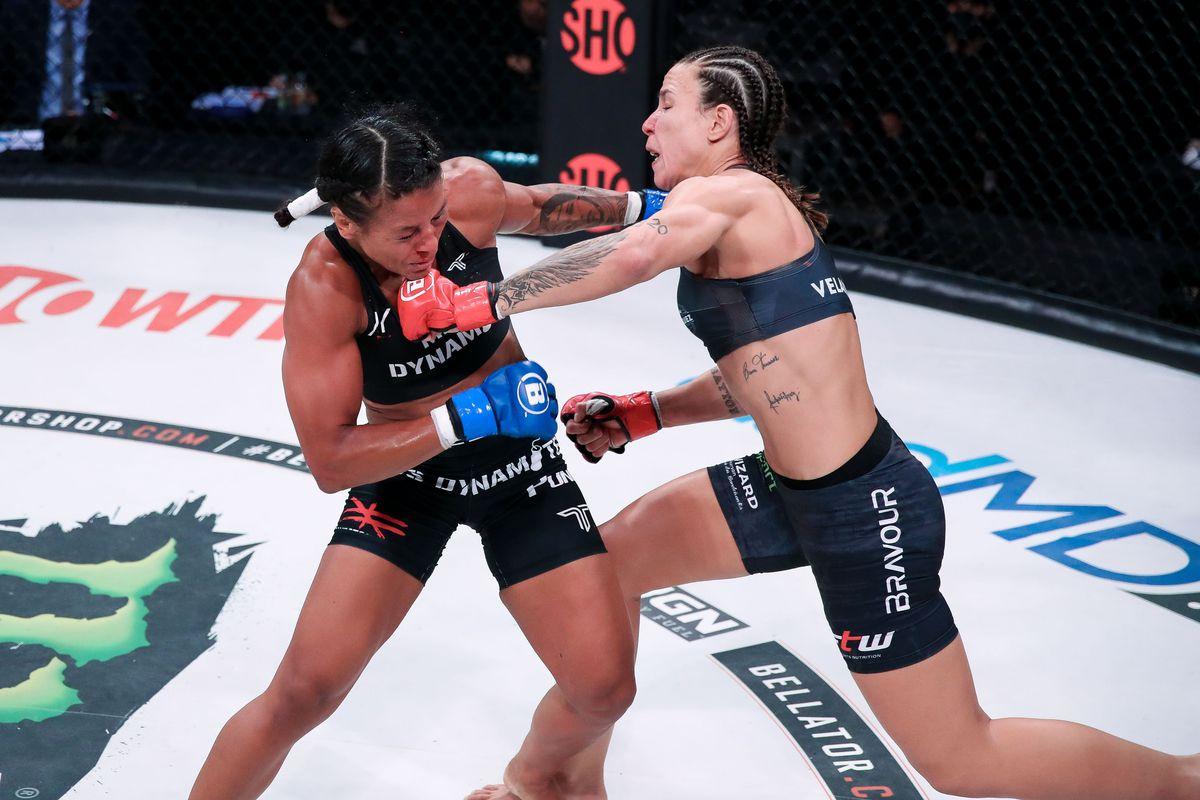 Juliana Velasquez punches Denise Kielholtz in the Bellator 262 main event.