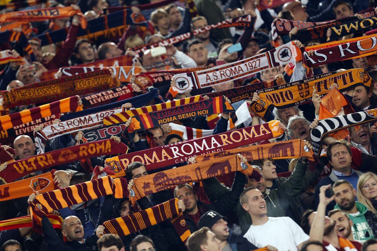 Roma's supporters hold up the scarf during the Champions...