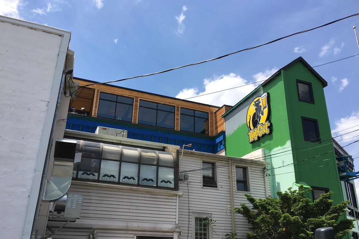 The green exterior of the downtown Royal Oak Hopcat building with a sign featuring a black cat holding a beer.