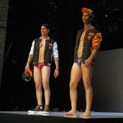 The crowd was really feeling this athletic swimwear look from Tipsy and Tumbler (Clark Kent, is that you on the left?)