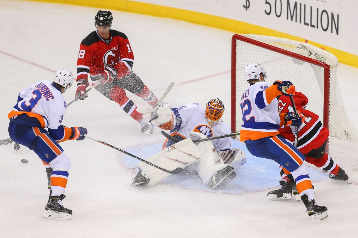 Pictured: Just after the closest the Devils came to scoring tonight.