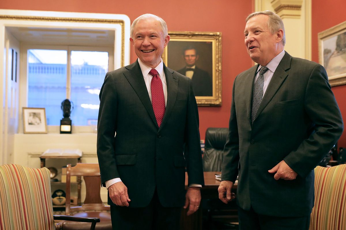 Senate Minority Whip Richard Durbin, D-Ill., said he was not encouraged after a meeting Wednesday with President-elect Donald Trump's choice for Attorney General, Sen. Jeff Sessions, R-Ala.   Chip Somodevilla/Getty Images