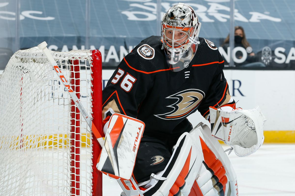 Goaltender John Gibson #36 of the Anaheim Ducks tends net during the first period of the game against the San Jose Sharks at Honda Center on February 5, 2021 in Anaheim, California.
