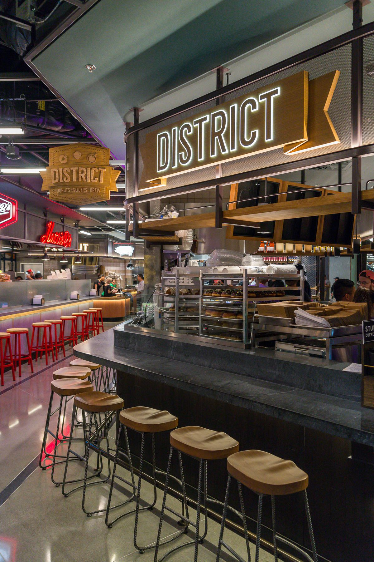 District: Donuts. Sliders. Brew and Hattie B's at Block 16 Urban Food Hall
