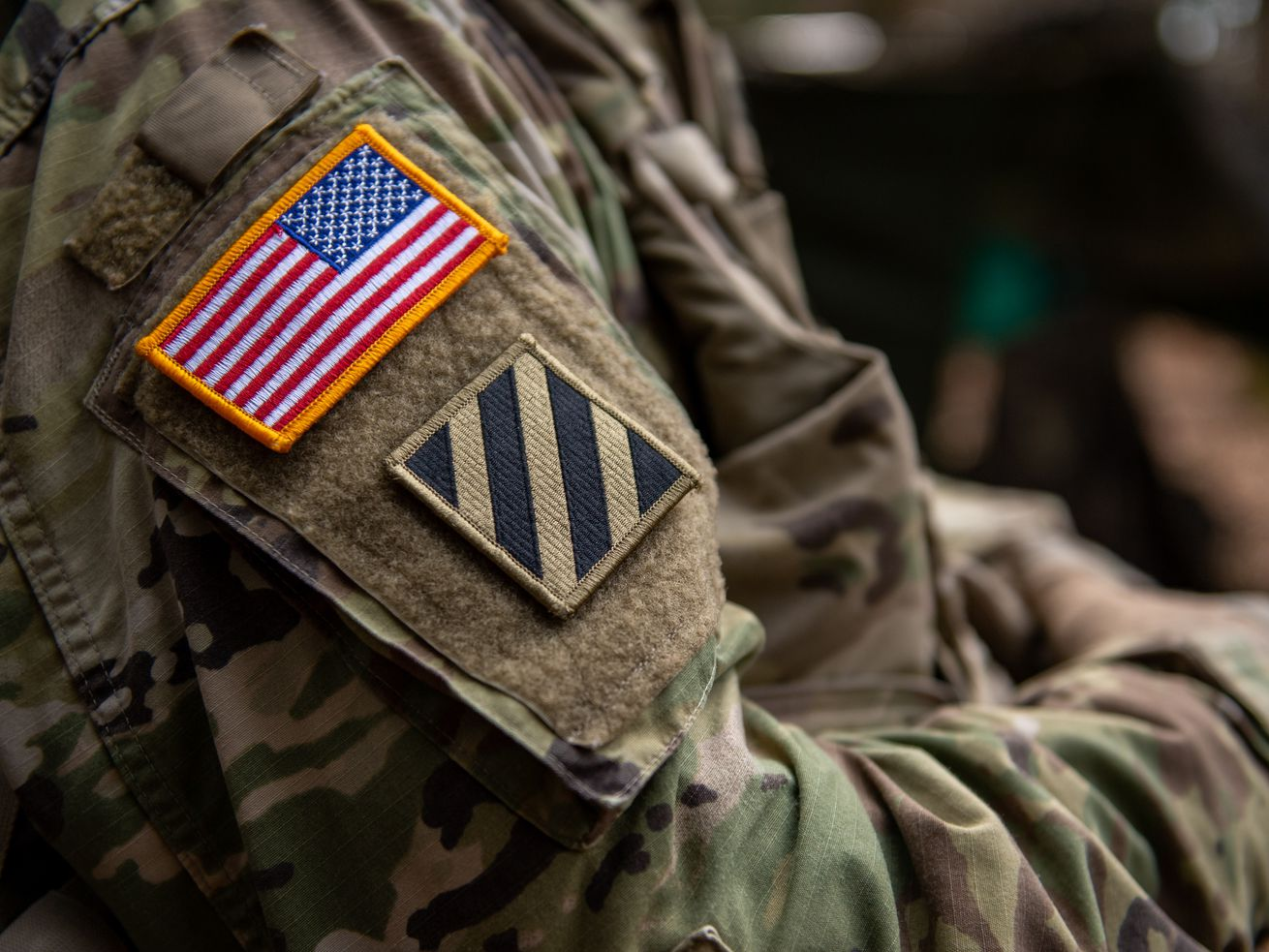 A US flag on the shoulder of a soldier during military exercises near Hohenfels, Germany, on April 9, 2019.