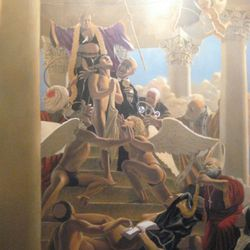 Risque and allegorical murals lining the stairwells in SAX provide commentary on various modern-day political and religious scandals.