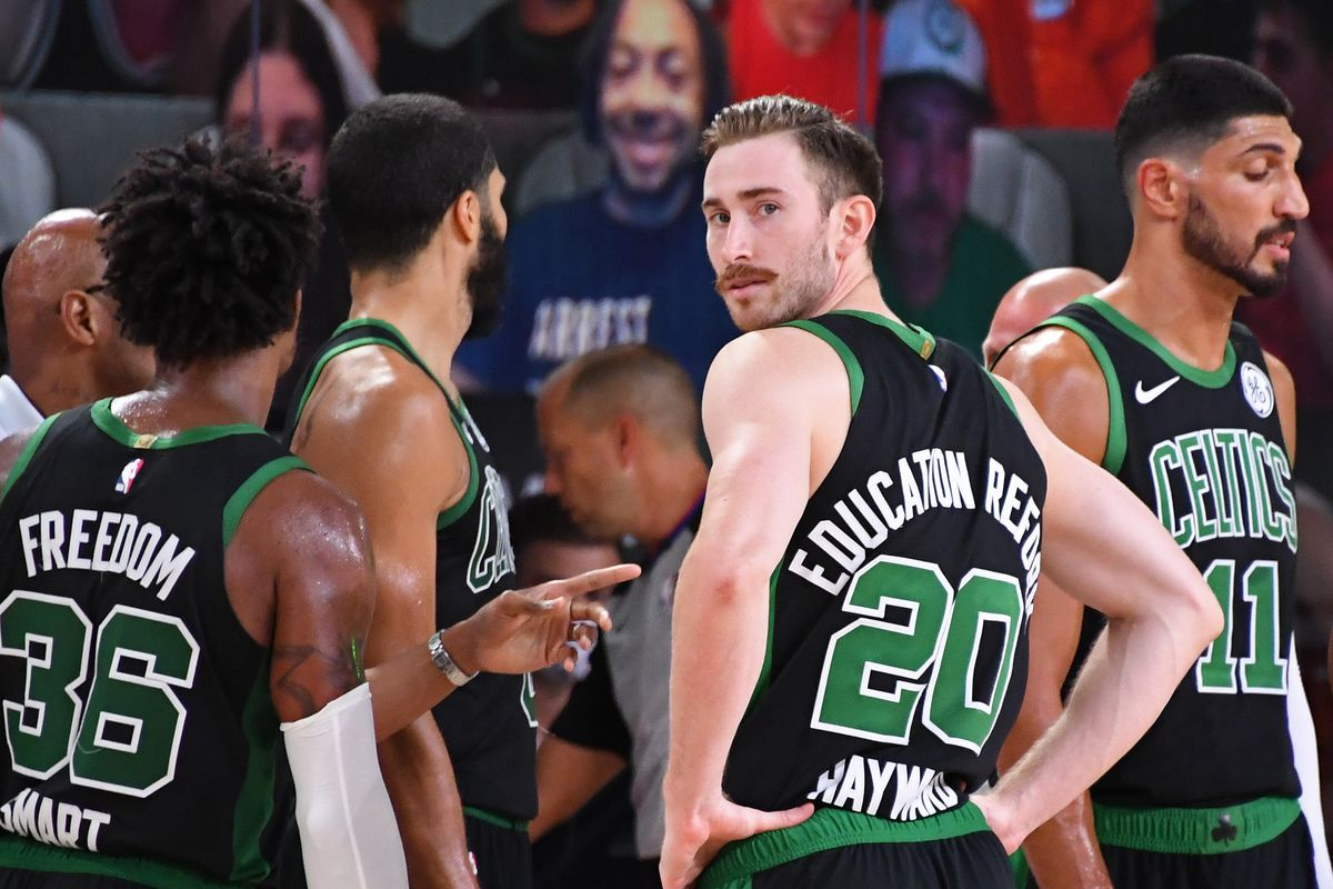 Gordon Hayward of the Boston Celtics looks on during the game against the Miami Heat during Game Five of the Eastern Conference Finals of the NBA Playoffs on September 25, 2020 at AdventHealth Arena in Orlando, Florida.