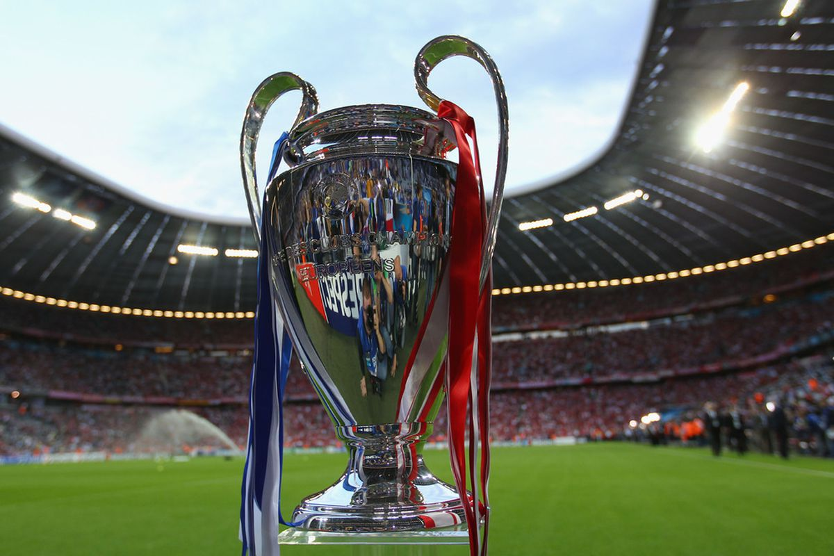 MUNICH, GERMANY - MAY 19: The trophy on display ahead of the UEFA Champions League Final between FC Bayern Muenchen and Chelsea at the Fussball Arena München on May 19, 2012 in Munich, Germany.  (Photo by Alex Livesey/Getty Images)