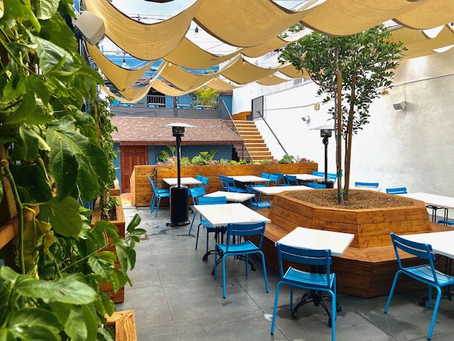 The outdoor patio at The Airliner in Lincoln Heights, California