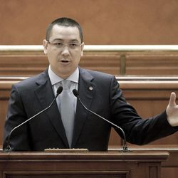 Opposition leader Victor Ponta speaks during a special parliament session in Bucharest, Romania, Friday, April 27, 2012, before a no confidence vote.  The Romanian government fell on Friday in a confidence vote, Ponta is the opposition alliance's proposal for the new Premier.