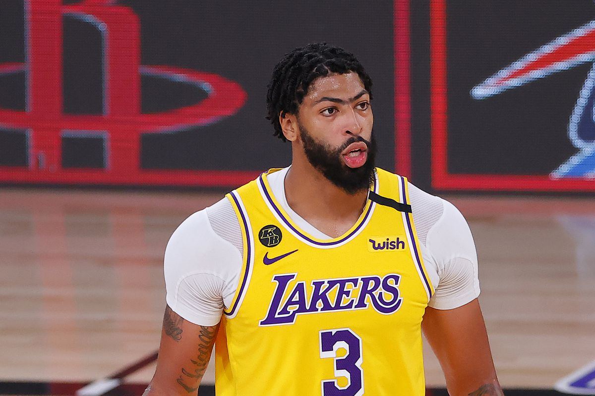 Anthony Davis of the Los Angeles Lakers handles the ball during the third quarter against the Portland Trail Blazers in Game Two of the Western Conference First Round during the 2020 NBA Playoffs at AdventHealth Arena at ESPN Wide World Of Sports Complex on August 20, 2020 in Lake Buena Vista, Florida.