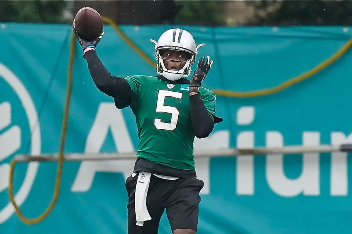 Carolina Panthers quarterback Teddy Bridgewater makes a throw during training camp at the Panthers training facility.