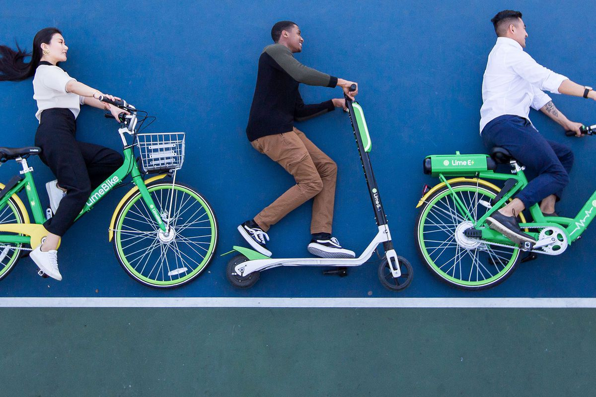 A Lime S Scooter Pictured Between Standard Limebike Left And E Electric Bike Right Courtesy Of