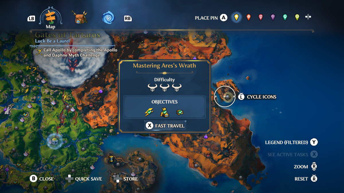 A map screenshot of the location of the Mastering Ares's Wrath Vaultof Tartaros in Immortals Fenyx Rising