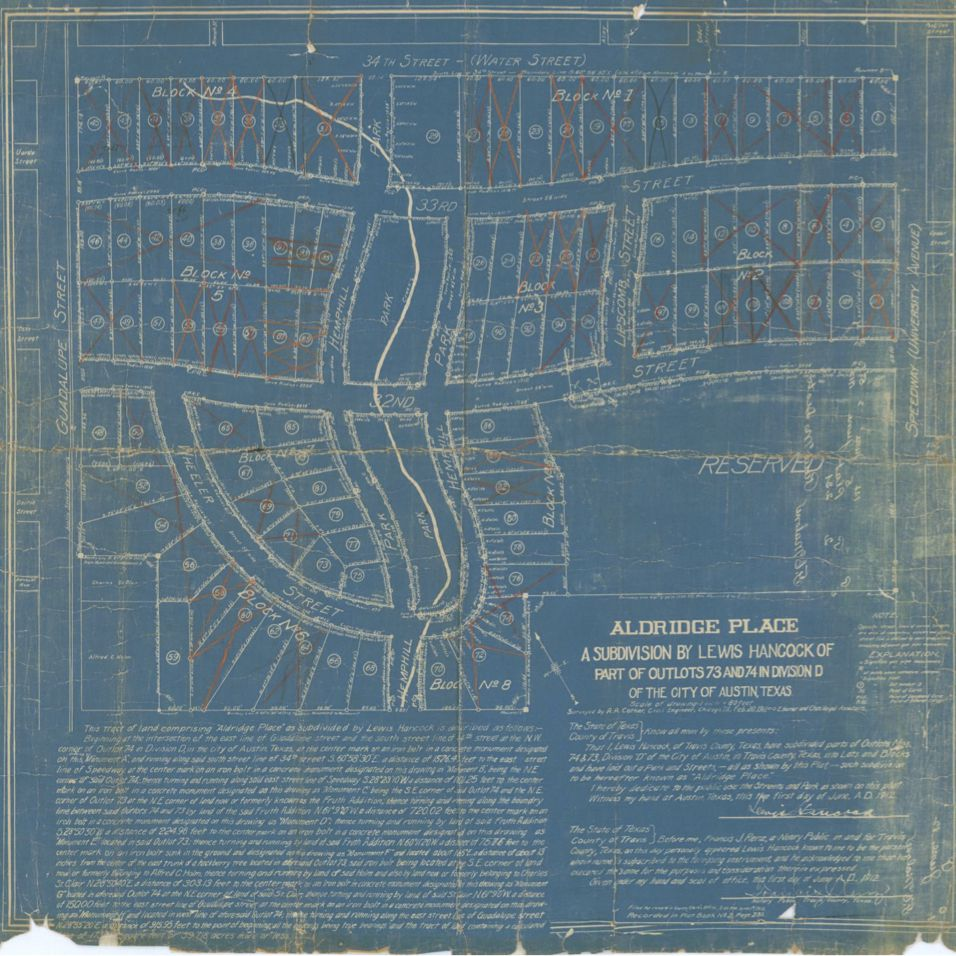 Old blue plat map
