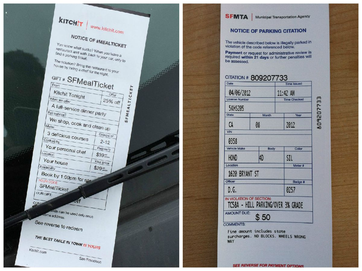 Culinary startups meter morons blanket sf cars with fake parking especially given that scams involving fake parking tickets have been a recurring issue in sf heres a side by side comparison of the kitchit ticket altavistaventures Images