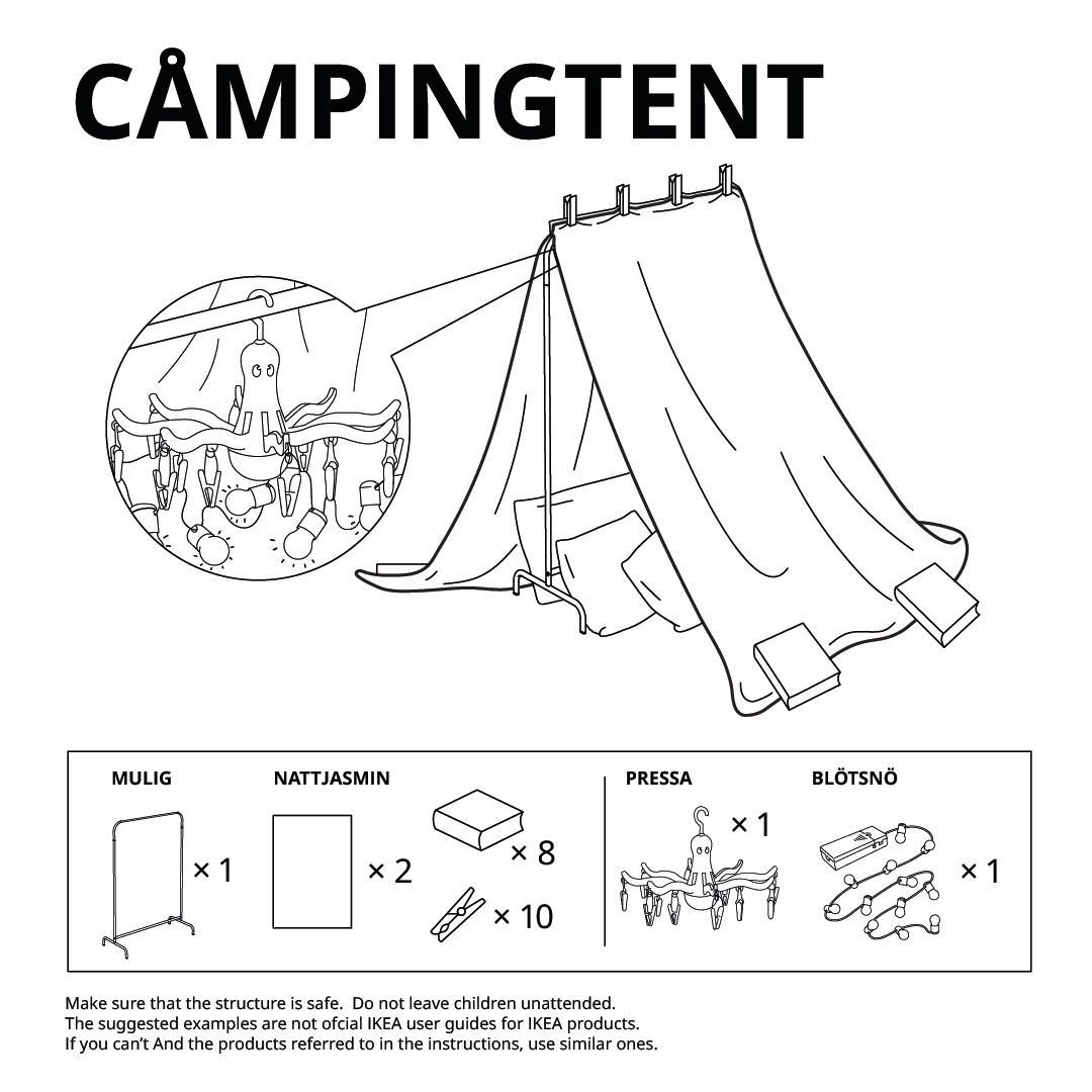 Illustration of a pitch-roofed tent-like structure made with sheets and a clothing rack.