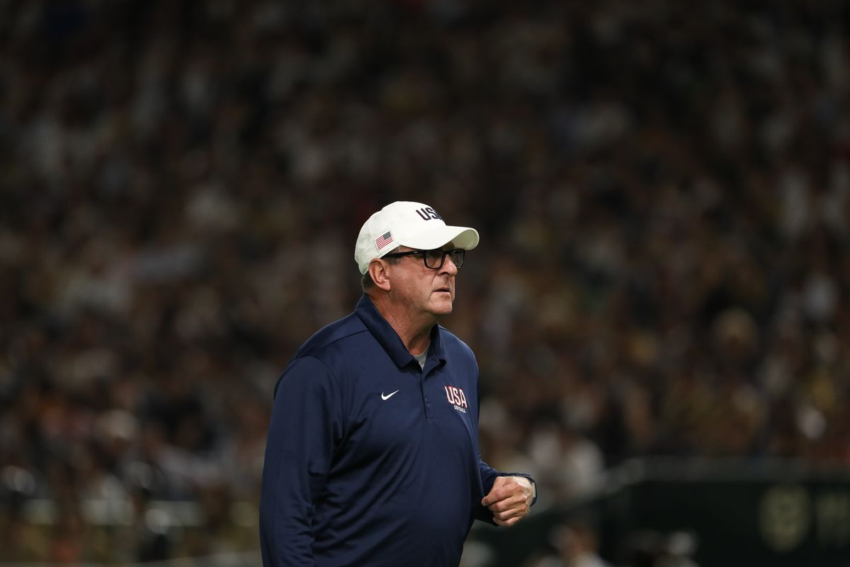 Head Coach Ken Eriksen of United States looks on during the game three between Japan and United States at the Tokyo Dome on June 25, 2019 in Tokyo, Japan.
