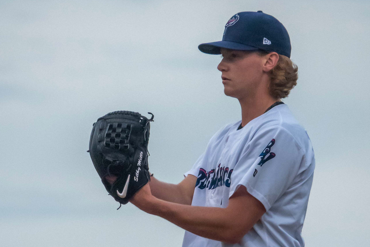 Max Meyer stands on the mound focused on the batter