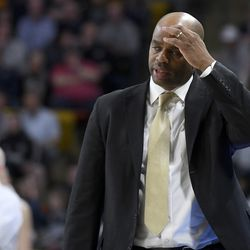San Jose State coach Jean Prioleau reacts after his team missed a shot against Utah State during the first half of an NCAA college basketball game Tuesday, Feb. 25, 2020, in Logan, Utah.