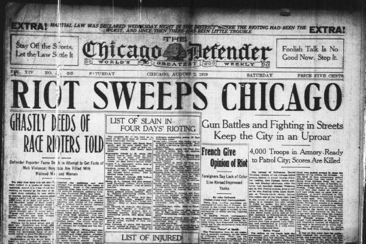 The front page of the Chicago Defender on August 2, 1919. Race riots broke out across the city for seven days.