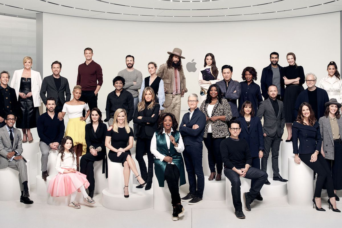 Apple CEO Tim Cook photographed with stars who are contributing to his company's Apple TV+ service.