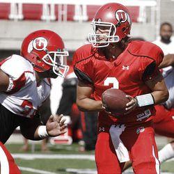 QB Jordan Wynn, University of Utah football practice.  Tuesday, Aug. 16, 2011   Photo by Stuart Johnson/Deseret News