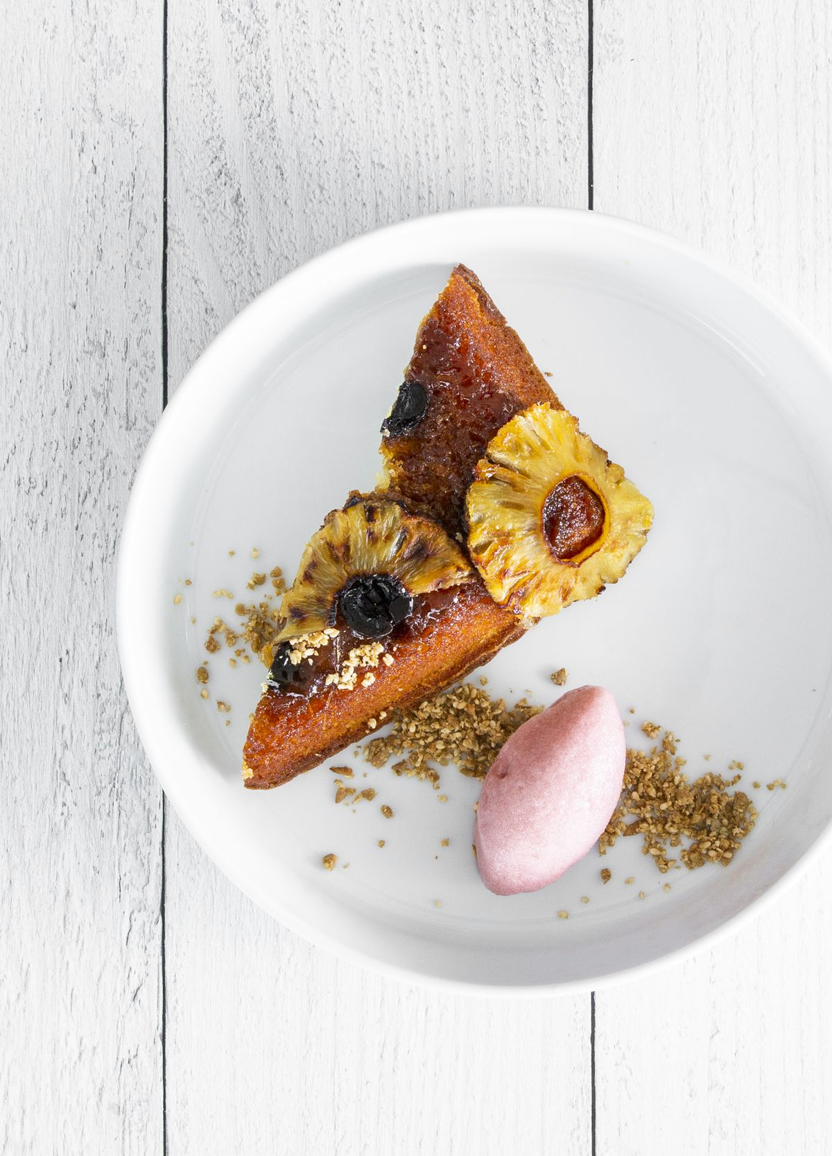 Pineapple upside-down cake with cherry sorbet