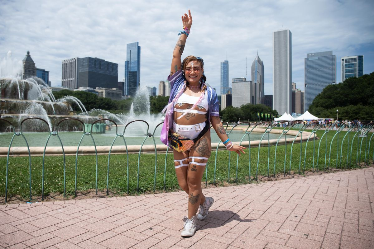 Samantha Arellano, 28, in Grant Park on the second day of Lollapalooza Friday.