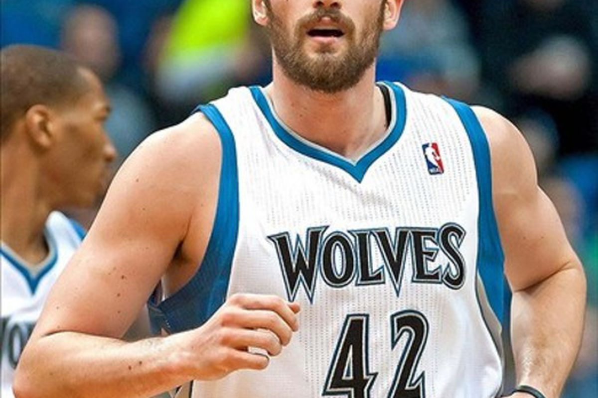 Mar 7, 2012; Minneapolis, MN, USA; Minnesota Timberwolves power forward Kevin Love (42) during the first quarter against the Portland Trail Blazers at Target Center. Timberwolves won 106-94. Mandatory Credit: Greg Smith-US PRESSWIRE