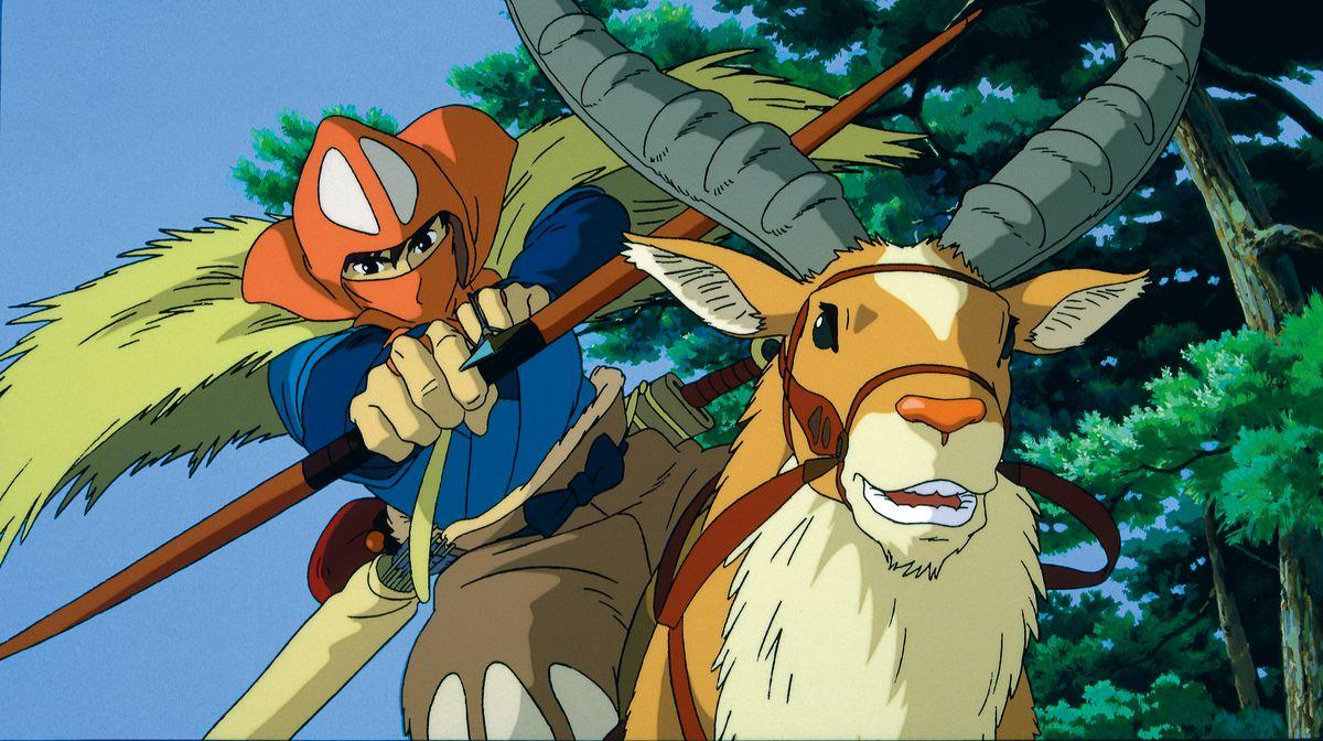 Prince Ashitaka rides his elk horse thing in Princess Mononoke