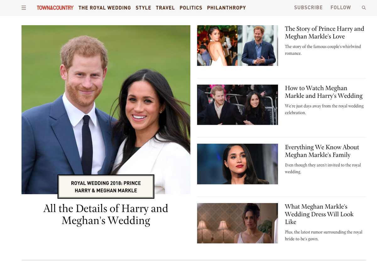 A screen grab of Town & Country's special royal wedding site showing multiple Harry and Meghan stories.