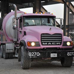 Pink concrete truck at Waveland & Kenmore -