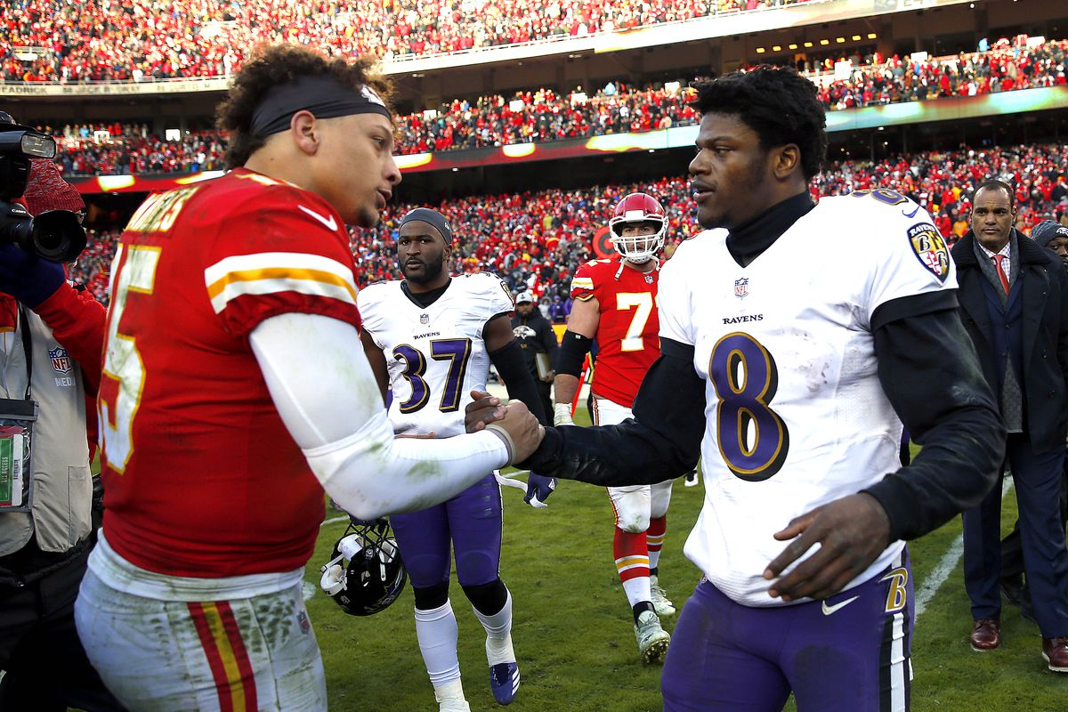 Kansas City Chiefs quarterback Patrick Mahomes shakes hands with Baltimore Ravens quarterback Lamar Jackson after the Chiefs defeated the Ravens 27-24 in overtime to win the game at Arrowhead Stadium on December 09, 2018 in Kansas City, Missouri.