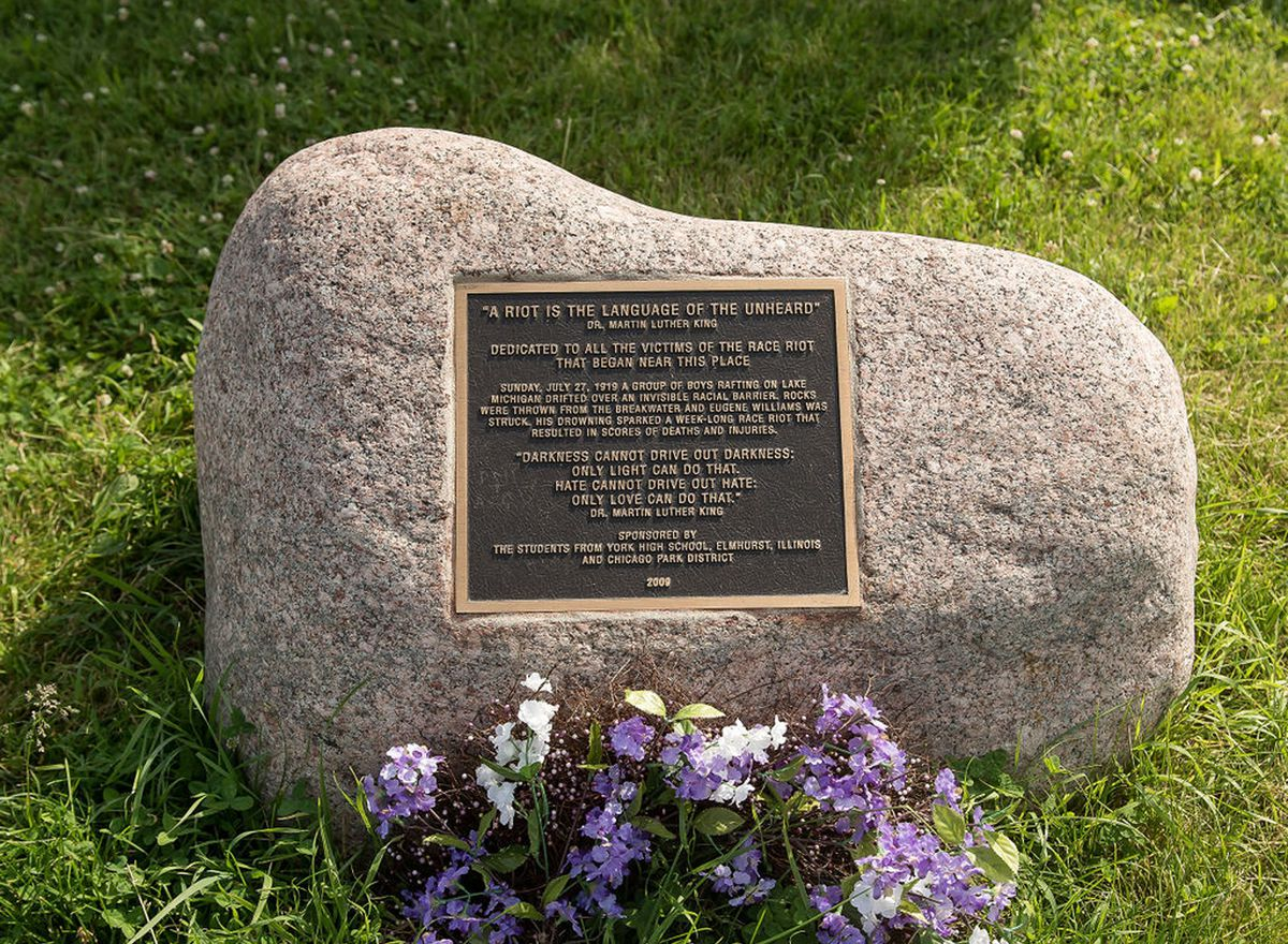 A marker near 29th Street is dedicated to the victims of the riots that started nearby.
