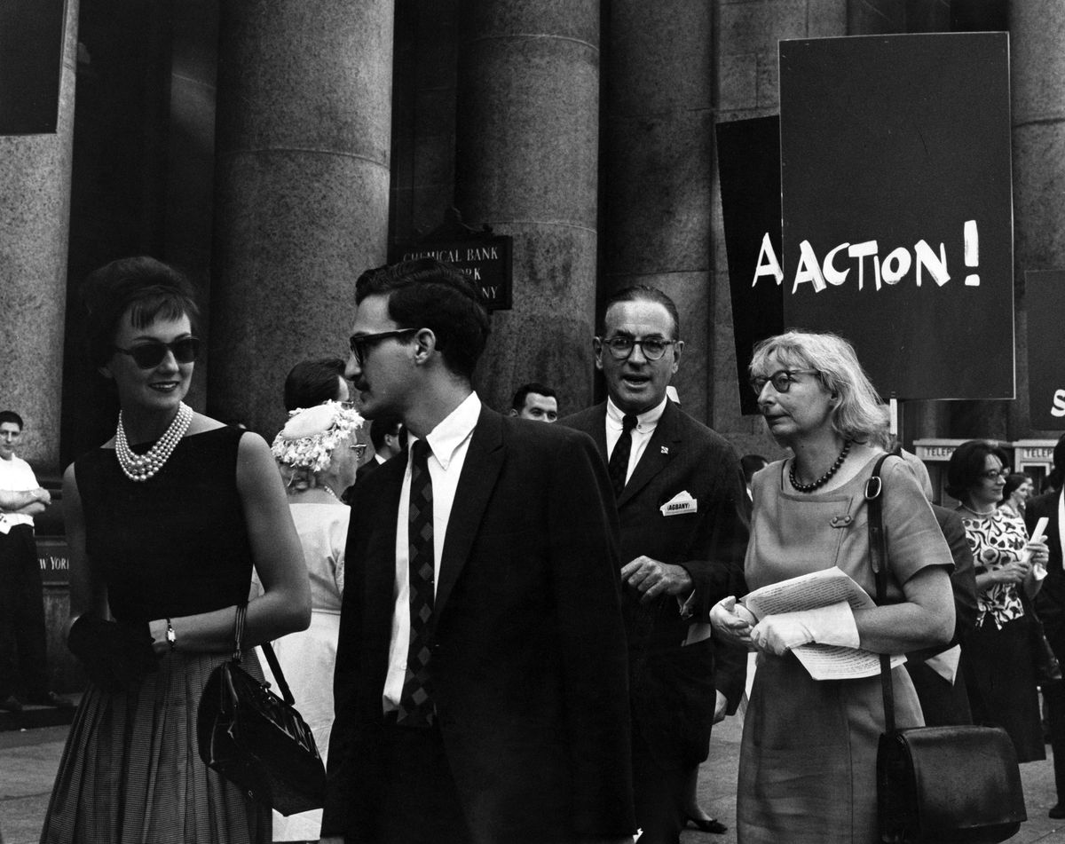 Jane Jacobs demonstration against in the demolition of Penn Station in May 1963.