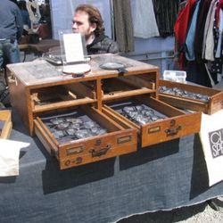 One of multiple vintage glasses stands.