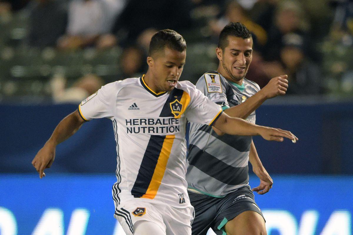 Gio dos Santos leads the LA Galaxy in their return leg against Santos.