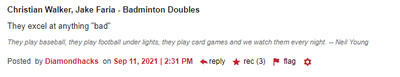 """Christian Walker, Jake Faria - Badmiton Doubles They excel at anything """"bad"""" (3 recs)"""