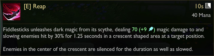 Fiddlesticks' in-game tooltip for its E ability, Reap