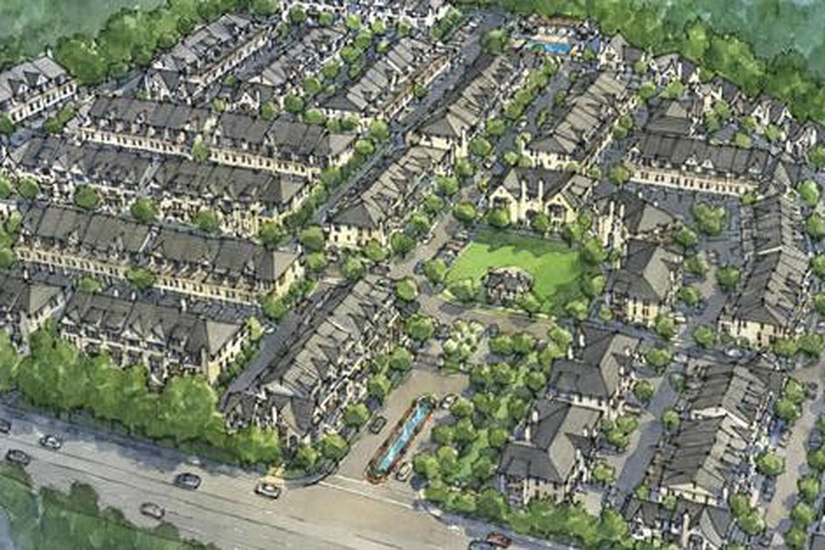 A rendering of the proposed, roughly 300-home arrangement.