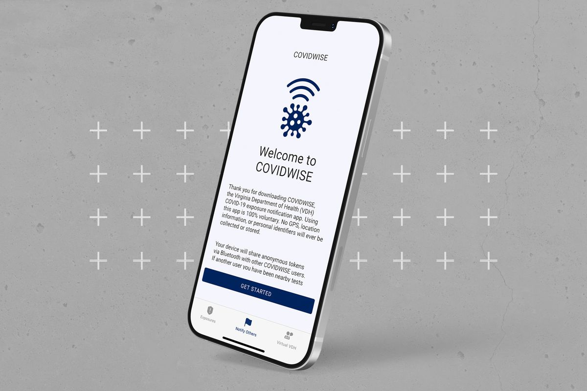 The Covidwise app shown on a smartphone screen.