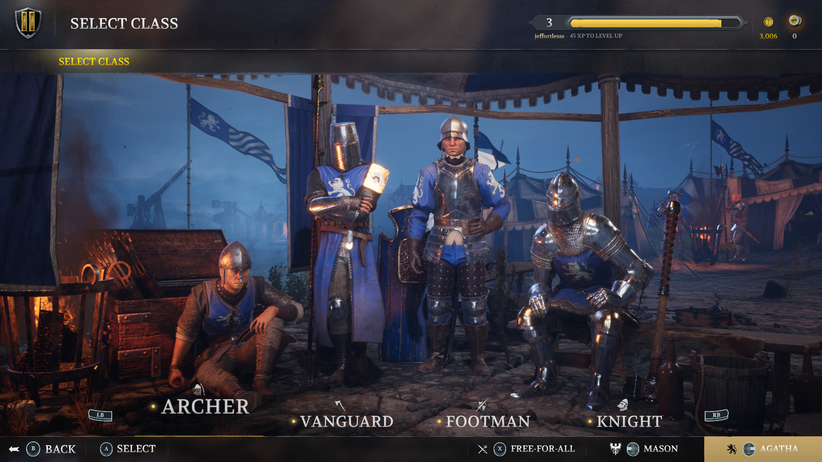 The four classes in Chivalry 2